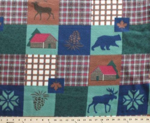 Bears Pinecones - Patchwork Cabin Animal Bear Pinecone Fleece Fabric Print by Yard omainegreeng