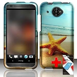 HTC Desire 601 ZARA (Virgin Mobile) 2 Piece Snap On Rubberized Image Case Cover, Orange Starfish Serene Beach Scene + SCREEN PROTECTOR