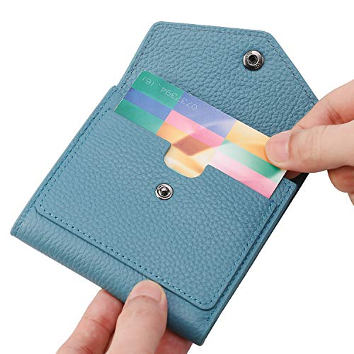 Lavemi RFID Blocking Small Compact Mini Bifold Credit Card Holder Leather Pocket Wallets for Women with Quick access ID Slot(Light Green)