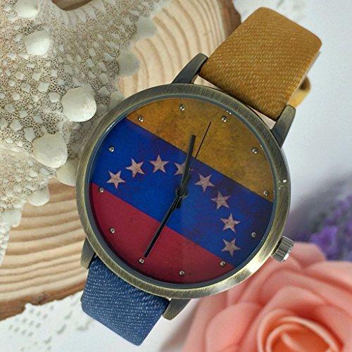 Kezzi Women's K1048 Casual Quartz Venezuela Flag Dial Watch Blue Red Leather Strap