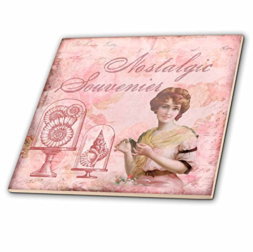 3dRose Andrea Haase Illustration - Image of Nostalgic Woman In Shades Of Soft Pink - 4 Inch Ceramic Tile (Soft Pink Shade)