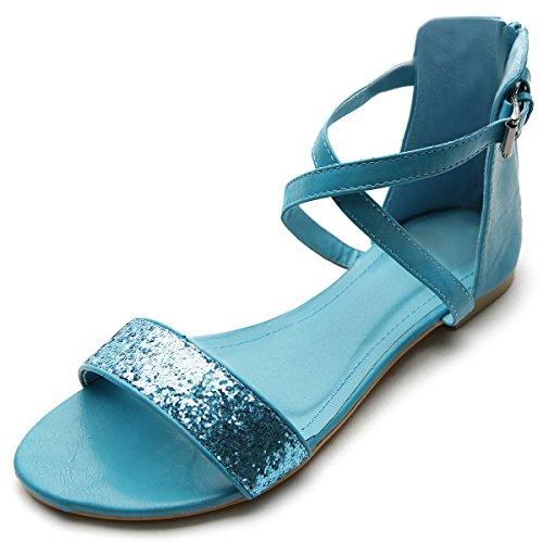 Buckle Accent Ballet Flats (Ollio Women's Shoe Zipper Ankle Strap Buckle Accent Multi Color Sandal(6.5 B(M) US, Turquoise))