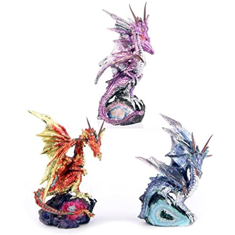 Geo Dragon Perched on Small Geode Crystal (Geo Crystals)