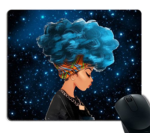 Smooffly Gaming Mouse Pad Custom,African Women with Blue Hair Hairstyle Galaxy background Non-Slip Rubber Mouse Pad Mousepad