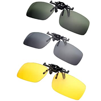 55f0c92b454 Forepin Clip on Sunglasses Flip-Up Polarised Sun Lenses 2-Pack Unisex Sunglasses  Polarized