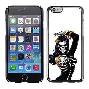 Be Good Phone Accessory // Dura Cáscara cubierta Protectora Caso Carcasa Funda de Protección para Apple Iphone 6 Plus 5.5 // Skull Bride Woman Gold White Black