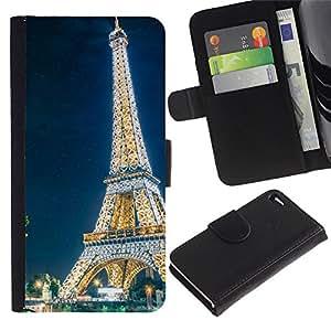 JackGot ( Resplandeciente Torre Eiffel ) Apple Apple iPhone 4 / iPhone 4S la tarjeta de Crédito Slots PU Funda de cuero Monedero caso cubierta de piel