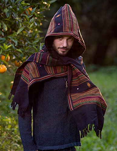 Hooded Scarf with Hood Cashmere Wool Black Handmade Hoodie Earthy Tribal Pattern Festival Gypsy