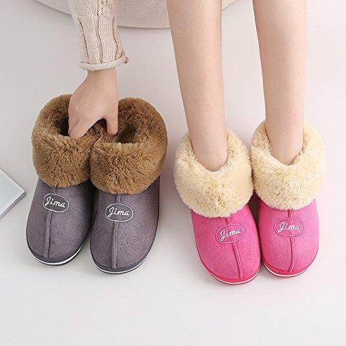 CWAIXXZZ pantofole morbide In inverno il cotone pantofole uomini femmina del pacchetto completo con anti-slittamento più spessa di velluto soggiorno caldo indoor e outdoor in cotone felpato scarpe alt
