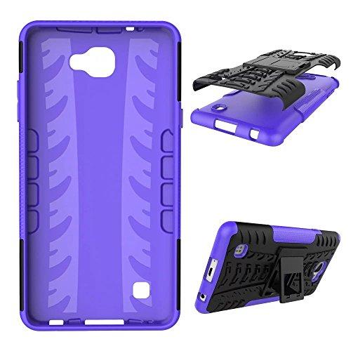 YHUISEN Hyun patrón de doble capa de armadura caso híbrido desmontable Kickstand 2 en 1 resistente a los golpes duro resistente cubierta de la caja para LG X Max ( Color : White ) Purple
