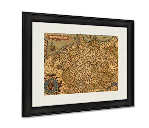 Antique Map Of Germany Wall Art Decor Giclee Photo Print In Black Wood Frame, Soft White Matte, Ready to hang 16x20 art (Germany Antique Map)