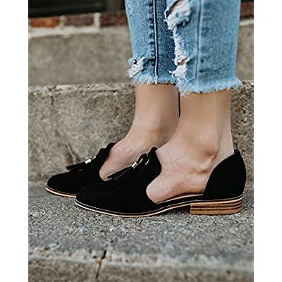 Sovelen Womens Flats Shoes Comfortable Slip On Closed Toe Cut Out Flat with Tassels | Flats