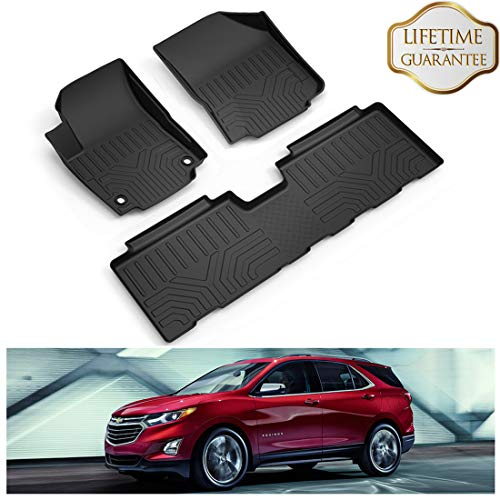 KIWI MASTER Floor Mats Liners Compatible for 2018-2019 Chevrolet Equinox Front & 2nd Row Seat All Weather Protector TPE Slush Liner Mat Black