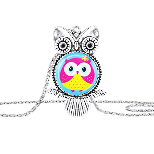 Owl Pendant Necklace Jewelry Vintage Newest Glass Cabochon Necklace by TOPUNDER (Pink Jewelry Pendant Jade)