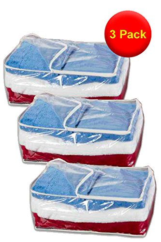 3x Storage Chests - Clear with White Trim - L50xW38xH20cm - Perfect for out of season storage of blankets, bedding and clothing by RUSSEL