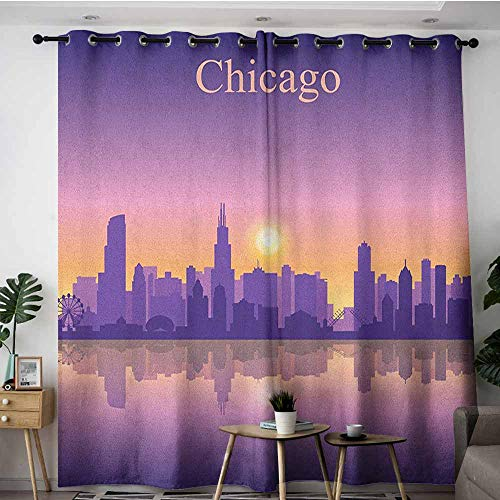 AGONIU Home Curtains,Chicago Skyline Sunset in Illinois American Horizon Behind High City Silhouettes,Darkening Thermal Insulated Blackout,W72x108L Purple Apricot Pink -