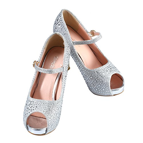 Heel Open CHEERDRESS CHEERDRESS Jane Mary High Mary Open Silver Shoes Toe Toe pHzEqfx