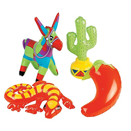 Fun Express - Inflate Fiesta Assortment for Cinco de Mayo - Toys - Inflates - Inflatable Characters - Cinco de Mayo - 12 -
