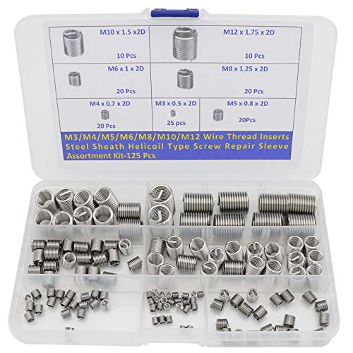 (M3 M4 M5 M6 M8 M10 M12 Wire Thread Inserts Steel Sheath Helical Type Screw Repair Sleeve Assortment Kit -125pcs)