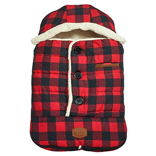 (JJ Cole - Urban Bundleme, Canopy Style Bunting Bag to Protect Baby from Cold and Winter Weather in Car Seats and Strollers, Buffalo Plaid,)
