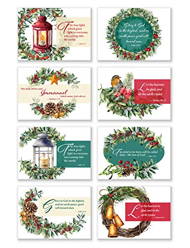 Religious Christmas Note Cards | 8 Unique Holiday Water Color Designs with Scripture Verses | 48 Pack Double Sided (Non-folding style) Bible Verse Christmas Cards with Envelopes (Inspiration Graphic Card Design Christmas)