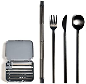 Yassk Pocket Sized Silverware Flatware Cutlery Set, Portable Reusable Stainless Steel Utensils Knife Fork Spoon Straw Cloth Napkin,Dishwasher Safe (Black)
