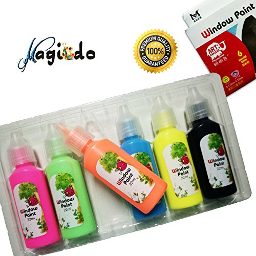 Magicdo® 6 Cols Window Paint Set Glass Paint Tubes with Stencil Craft Window Writer For Glass(22 ml / Tube)