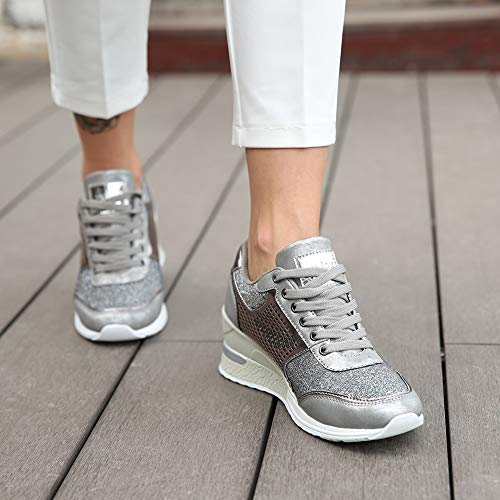 406aea17ac70b High Heeld Wedge Sneakers for Women - Ladies Hidden Sneakers Lace Up Shoes,  Best Chioce for Casual and Daily Wear SM1-SILVER-7
