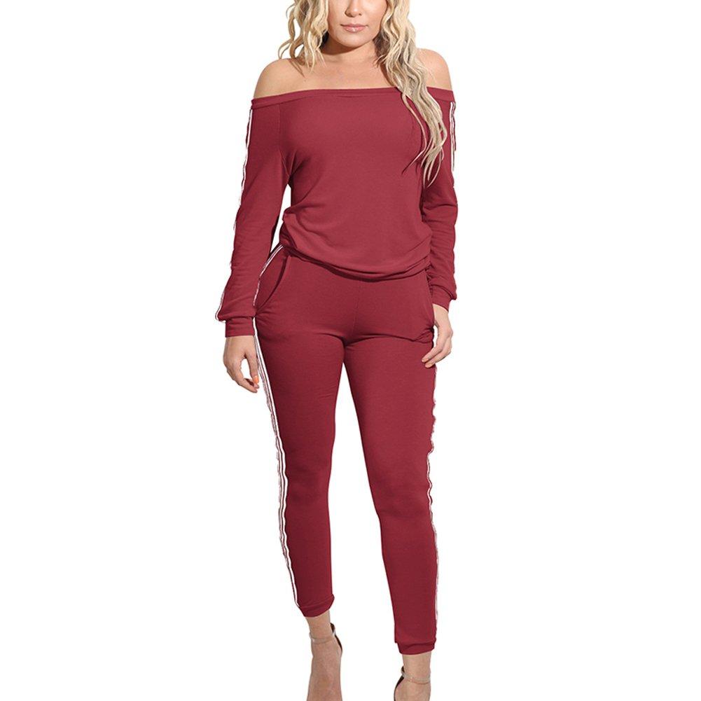 Starstreetcom Womens Off Shoulder Tracksuit Bardot Sweatshirt + Long Pants 2 Pieces Set Sport Jogging Suit Lounge Wear
