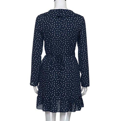 Kolylong® Kleid Damen Frauen Elegant V-Ausschnitt Langarm Kleid Vintage Polka Dots Mini Kleid Festlich Chiffon Kleider Sommer Strandkleid Bodycon Party Kleid Abendkleid Bluse Top Marine
