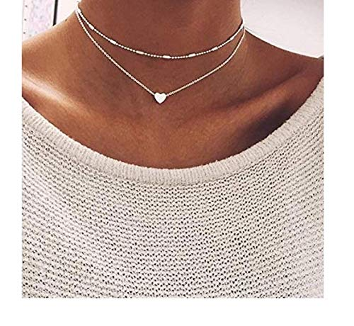 wanmanee Simple Double Layers Chain Heart Pendant Necklace Choker Fashion Women Jewelry ()
