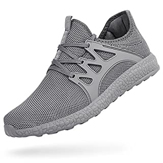 Feetmat Tennis Shoes for Men Non Slip Mesh Running Gym Shoes Lightweight Knitted Walking Athletic Shoesgrey 13