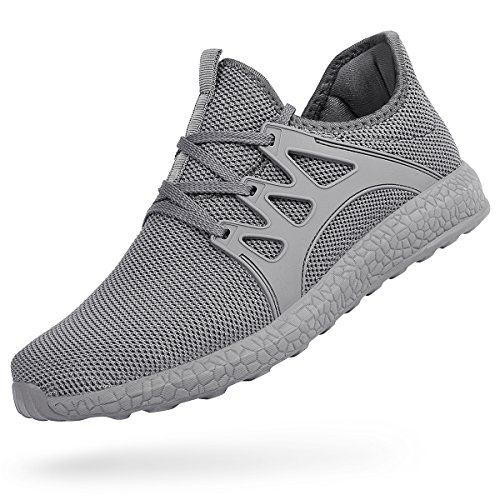 Feetmat Men's Shoes Mesh Breathable Lightweight Tennis Gym Sneakers Gray 9.5 D(M) US (Light Gray Mens Shoes)