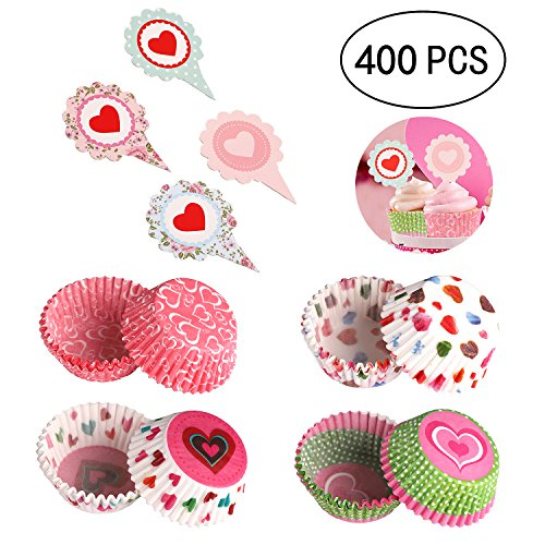 Geefuun 400PCS Valentine's Day Cupcake Toppers Liners - Baking Cake Cups Picks Party Supplies ()