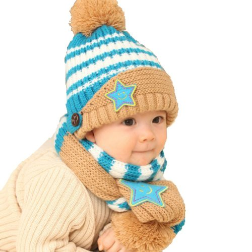 Winter Warm Baby Blue Stripe Wool Hat With Scarf (Blue Stripe Wool Hat)