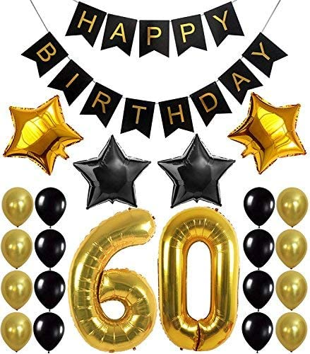 60th Birthday Party Decorations Kit Happy Birthday Banner 60th Gold Number Balloons Gold And Black Number 60 Perfect 60 Years Old Party Supplies Free Bday Printable Checklist Banners Amazon Canada