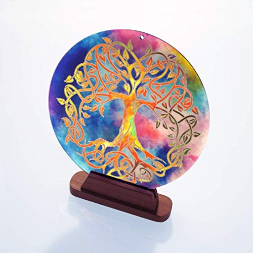 """Sun catcher for the window""""Tree of Life"""" No 20 ø 6 inch gift idea birthday · thank you · symbol of love · lucky charm · decorations to hang · celtic world tree · hanging feng shui acrylic glass"""