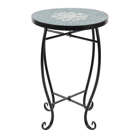 Mesa auxiliar de cristal pintado con mosaico para patio, mesa ...