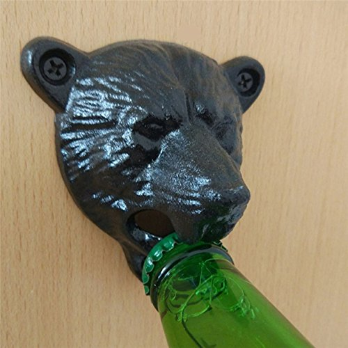 1 Pc Black Grizzly Bear Cast Iron Wall Mounted Bottle Opener Keychains Pocket Key Ring Chains Wrist Holder Strap Top level Popular Beer Openers Corkscrew Vintage Utility Travel Accessories