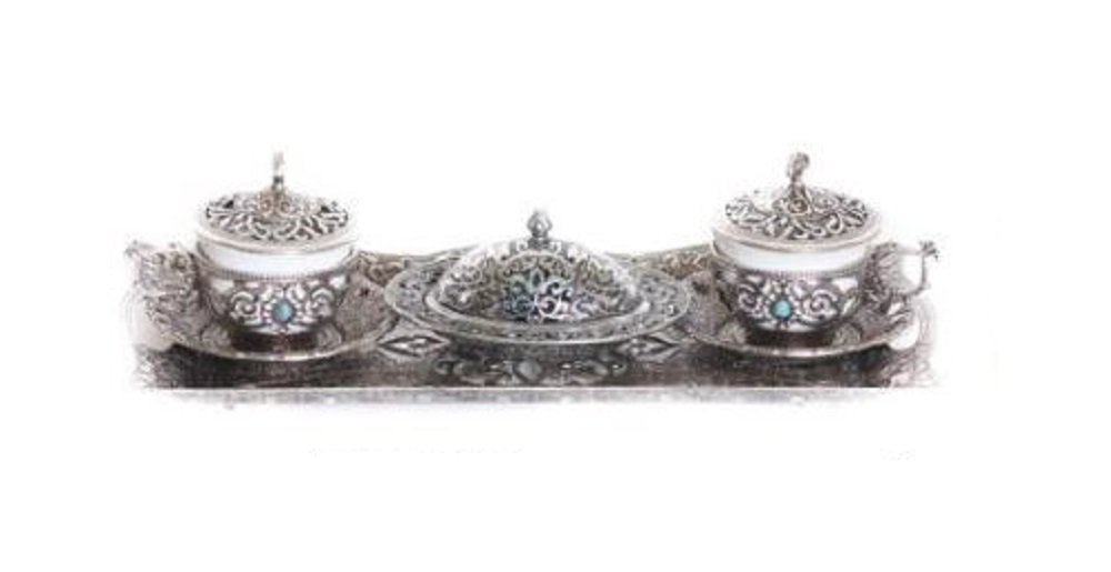 Traditional Turkish Style Gawa Coffee Serving Set with Colored Stone Insets Otantik Home Ottoman Design Silver