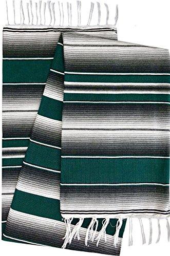 El Paso Designs Mexican Serape Blankets Bright & Colorful Saltillo Serape Blanket (X-Large, Green, Black)