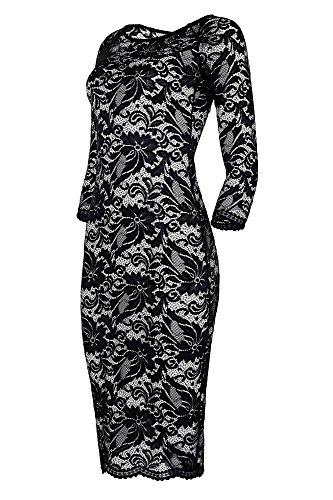negro manga blanco de Vestido de encaje Dreams Laeticia larga mujer vFHnCq1