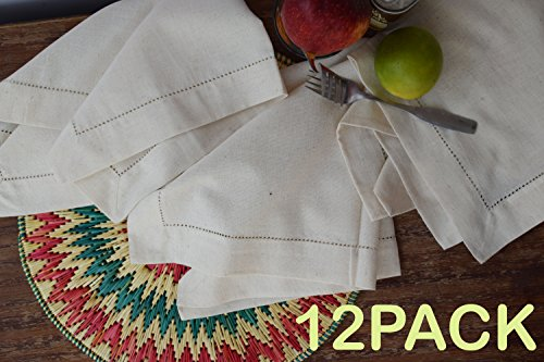 PACK of 12,Flax Cotton Designer Dinner Napkins20x20,Hemstitched Natural Color by Linen Clubs - Premium Linen Look - 20% Linen & 80% Cotton Natural Fiber. by Linen Clubs (Image #4)