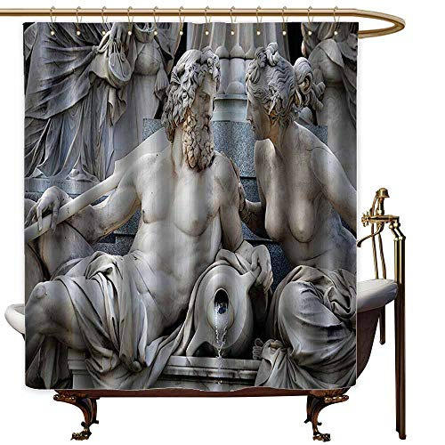 Godves Custom Shower Curtain,Sculptures Decor Collection Male and Female Statues Athena Fountain in Front of The Building of Austrian Parliament,Waterproof Colorful Funny,W94x72L,Ivory