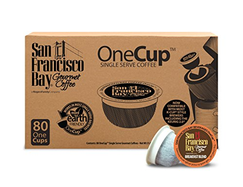 San Francisco Bay OneCup Breakfast Blend (80 Count) Single Serve Coffee Compatible with Keurig K-cup Brewers Single Serve Coffee Pods, Compatible with Keurig, Cuisinart, Bunn Single Serve Brewers by SAN FRANCISCO BAY