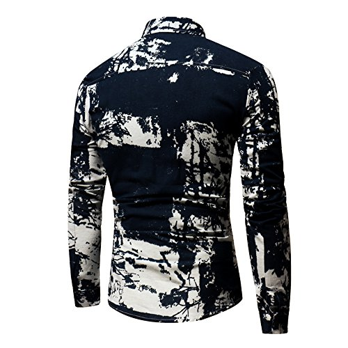 QBQCBB Personality Men's Casual Shirt Slim Fit Long-Sleeved for sale  Delivered anywhere in USA