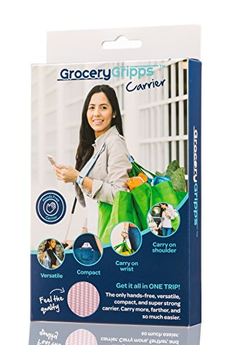 Plastic Bag Carrier (Grocery Gripps Hands-Free Shopping Bag Carrier (Plastic and Reusable) - Make Shopping Easier With This Grocery Bag Holder - Ergonomic, Compact, Super Strong & Simple To Use - Pink)