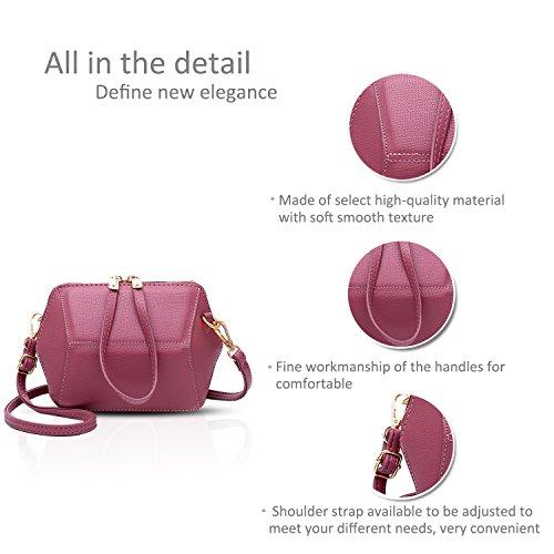 NICOLE&DORIS Casual Elegante Bolsos de Mano Totes para Mujer Monederos Mujer Bolso Commuter Bandolera Impermeable Durable Suave PU Negro Rosado