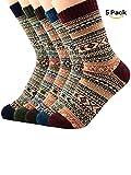 Century Star Womens Ultra Light Thermal Cashmere Wool Full Cushion Crew Cute Winter Socks 5 Pairs Diamond3