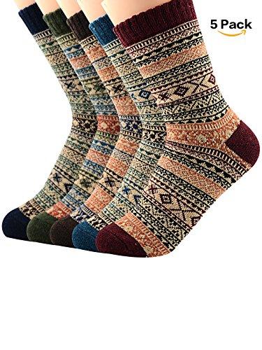 Womens Thermal Socks (Century Star Womens Ultra Light Thermal Cashmere Wool Full Cushion Crew Cute Winter Socks 5 Pairs Diamond3)